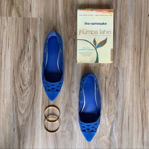 Banana Republic Cobalt Blue Lace Flats Pointed Toe